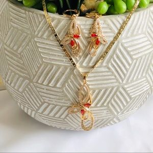 """Jewelry - Gold plated Necklace/earrings Set 18"""""""